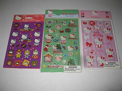 3 Packs Of Hello Kitty Stickers - Glitter Epoxy & Halloween