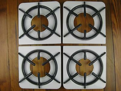 Set Of 4 Vintage Pittston Stove Pans And Grates Porcelain Enamel Metal Stove