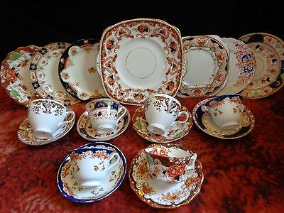 MISMATCHED 19 piece Imari Palette and Gold Gilt TEA SET 6 Trios + Cake Plate