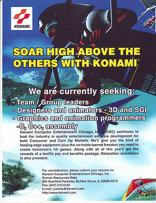 Konami Vintage Trade Ad Looking For New Hires Employees Not A Video Game Flyer