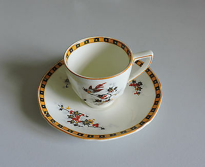 Crown Ducal Ware Demitasse Cup and Saucer England Chinese Bird