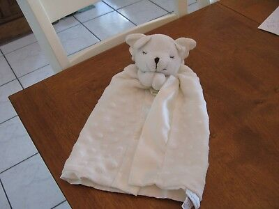 "16""  lovey BABY BLANKET plush security elegant baby ivory cream minky dot angel"