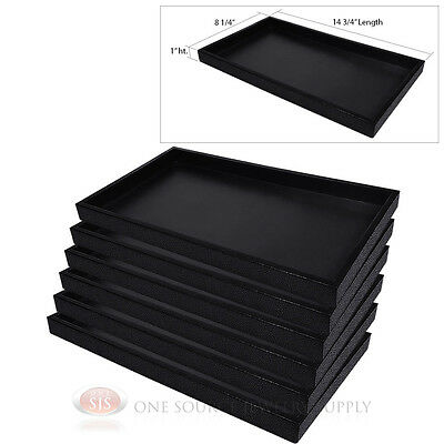 6) Black Plastic Display Sample Tray Jewelry Organizer Travel Stackable Trays