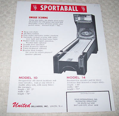 United Sportaball Shuffle Machine Flyer Brochure 1975