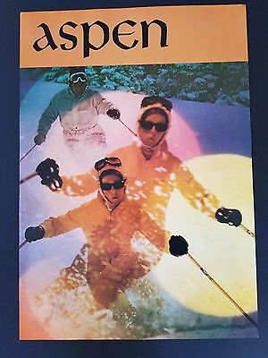 VINTAGE 1960s ASPEN COLORADO SKI RESORT POSTER  SNOW  MALE & FEMALE 60's SKIER