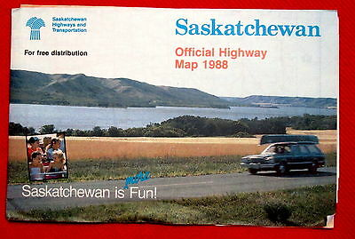 1988 Saskatchewan Official Highway Map Government issue t4c