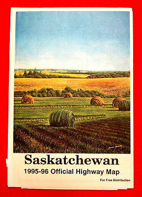 1995-1996 Saskatchewan Official Highway Map Government issue t4c