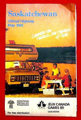 1989 Saskatchewan Official Highway Map Government issue t4c