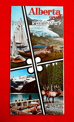 1968 Alberta Official Highway Map Government issue t4c