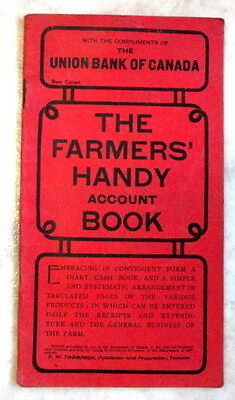 1904 Rare Union Bank of Canada Farmers Handy Account Book c