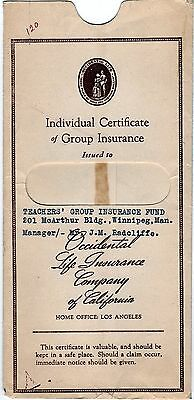Occidental Life Assurance Company of California Insurance Policy Envelope meac12