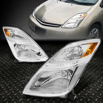 For 2006-2009 Toyota Prius Pair Chrome Housing Amber Corner Headlight/lamp Set