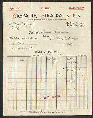 "PARIS (II°) SOIERIES LAINAGES GARNITURES ""CREPATTE , STRAUSS & Fils"" en 1953"