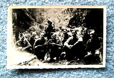Military Postcard Unidentified WWI Group of Nine Soldiers RPPC bac3