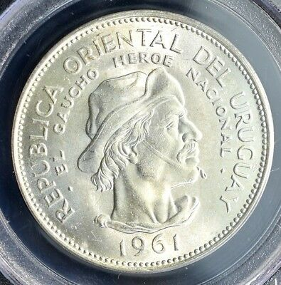 1961 Uruguay 10 Pesos Silver - PCGS Gem Uncirculated 9-11-01 WTC Ground Zero