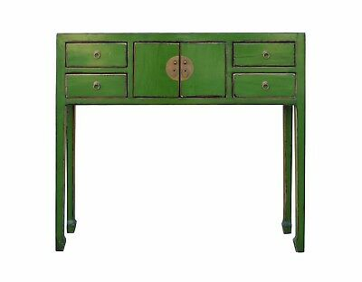 Chinese Distressed Bright Green Narrow Slim Foyer Side Table cs3216