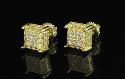 Mens Womens Square Studs 8mm 14k Gold Plated Cz Hip Hop Screw Back Earrings