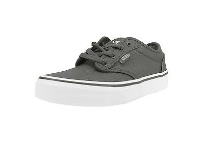 Vans Kids Youths Children Girls Boys Shoes Atwood Pewter White Canvas