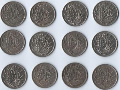 Singapore Seahorse 10 Cent Coins Set of 12 Circulated 1970 to 1984 u