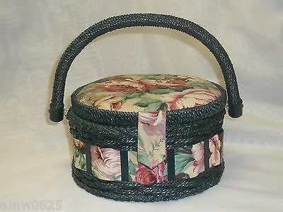 Singer Sewing Basket Round Green Wicker Floral Fabric Decorative Home Decor