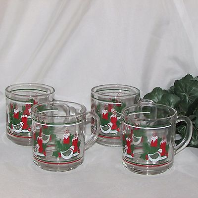 Christmas Coffee Mugs Set Of 4 Clear Glass Candles Bird Holly Kig Indonesia
