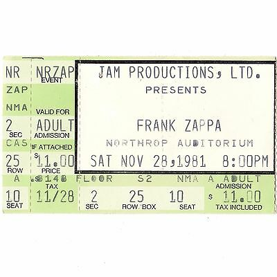 FRANK ZAPPA Concert Ticket Stub MINNEAPOLIS 11/28/81 NORTHRUP CITY OF TINY LITES