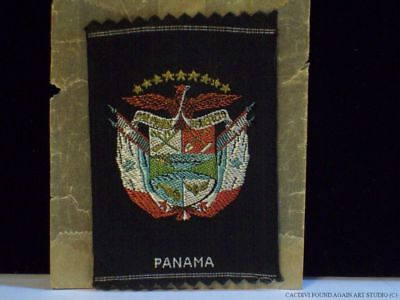 Vintage Panama Coat of Arms Old Woven Ribbon Patch Badge Original Wax Paper Bag