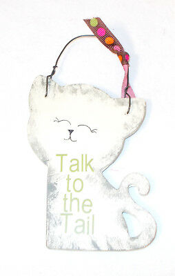 Wood Antique White Gray Sponged Cat Cutout Sign Magnet Talk To The Tail Green L