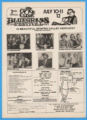 1986 Old Joe Clark Bluegrass Renfro Valley KY Ralph Stanley Osborne Crowe Lew Ad