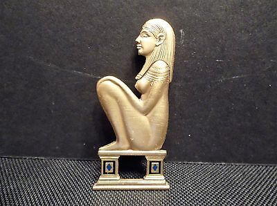 Vintage Egyptian Pin Brooch Signed RMA Museum Replica Bushed Gold Tone Metal