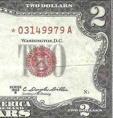 1953B $2 RED Seal *STAR* Legal Tender *UNITED STATES NOTE* Old US Paper Money!