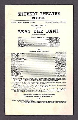 "Jack Whiting ""BEAT THE BAND"" Susan Miller 1942 FLOP Boston Tryout Broadside"