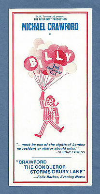 "Michael Crawford ""BILLY"" Elaine Paige / John Barry / Don Black 1975 London Flyer"