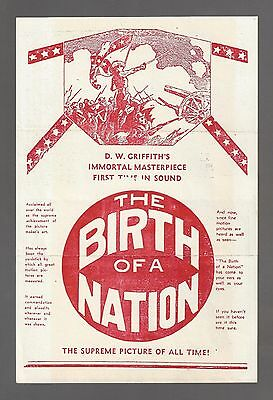 "D.W. Griffith ""BIRTH OF A NATION"" Lillian Gish / Thomas Dixon 1930 Movie Flyer"