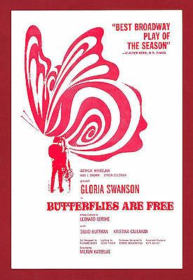 "Gloria Swanson ""BUTTERFLIES ARE FREE"" David Huffman 1971 Washington, D.C. Flyer"