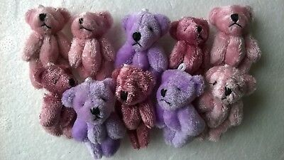 Teddy Bears x 10 plush assorted SLIGHT SECONDS, DOLLS HOUSE MINIATURES (F5050)