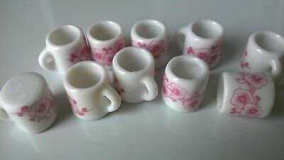 Dolls Mugs x 10 with pink design DOLLS HOUSE MINIATURES (F5914)