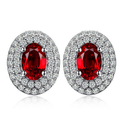 JewelryPalace Classic 1.1ct Natural Red Garnet Stud Earrings 925 Sterling Silver