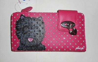 Cairn Terrier dog Hand Painted  Leather Wallet Vegan