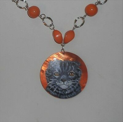 Scottish Fold Tabby cat Beaded Necklace Hand Painted Pendant OOAK