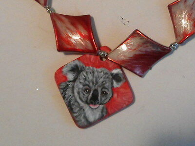 Koala Bear Beaded necklace Hand Painted Ceramic Pendant