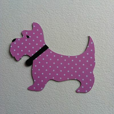 6 X Layered Black/pink Polka Dot Scottie Dog Die Cut Shapes-Animals Fashion Pets