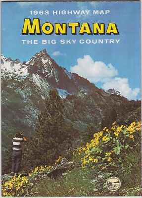 1963 Official State Issue Road Map Of Montana