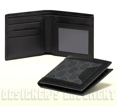 7a2d2a5eaa71 GUCCI Mens gray GG SUPREME Canvas black leather Bifold ID Window wallet NIB  Auth