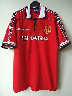 Manchester United Treble  Football Shirt By Umbro  Size Xl Signed  By  Andy Cole