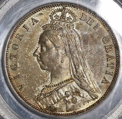 1887 PCGS MS 63 Silver 1/2 Crown Toned GREAT BRITAIN Coin (16110517C)