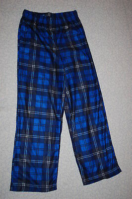 Boys Pajama Bottoms BLUE & BLACK PLAID Sleep Lounge Pants SOFT KNIT Size XS 4-5