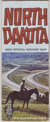 1968 Official State Issue Road Map Of North Dakota