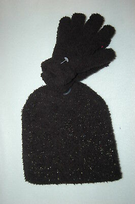 Girls WNTER HAT   GLOVES SET Plush Warm BLACK FUZZY Silver Sparkle ONE SIZE a3bcdefc029b