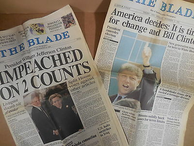 Clinton Elected!  Clinton Impeached! - 2 Toledo Blade Newspapers - 1992 & 1998